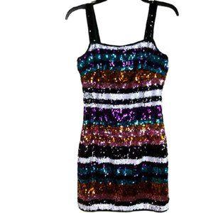 FASHION NOVA Sequins multi color dress SIZE: Sm